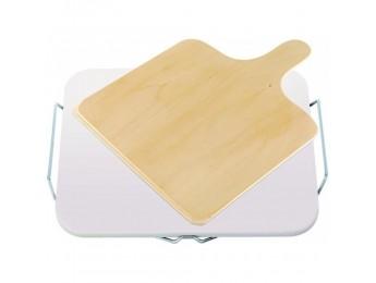 Leifheit kameň na pečenie pizze hranatý s drevenou doštičkou, 03160
